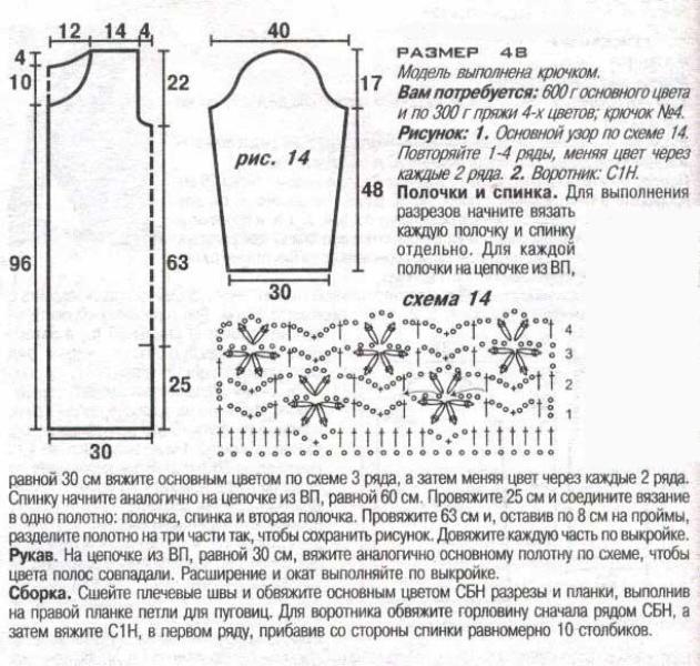 пальто вязаное крючком схемы и описание