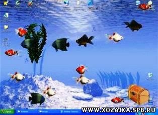 Стол живые обои аквариум рыбки