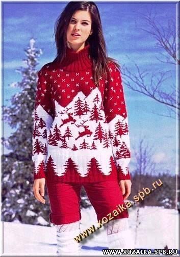 Женские свитеры с оленями вязать спицами